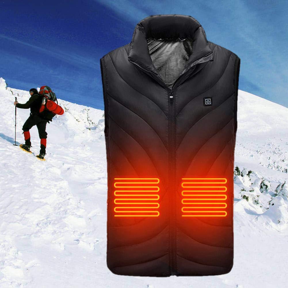 chaleco calefactado el/éctrico con carga USB Chaleco de tela calefactada con control de temperatura ajustable de tres niveles para esqu/í al aire Chaleco calefactor con chaleco calefactado para hombres