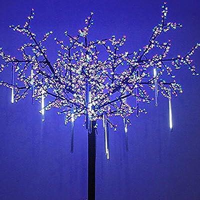 OMGAI Upgraded LED Meteor Shower Rain Lights,Drop/Icicle Snow Falling Raindrop 30cm 8 Tubes Waterproof Cascading lights for Wedding Xmas Home Decor - US plug
