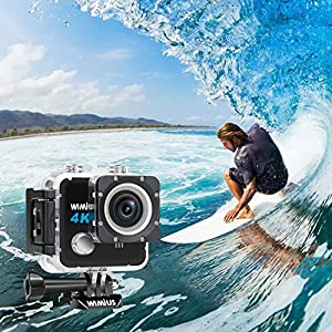 WIMIUS L1 Action Camera, Sports Action Camera 4k WiFi Ultra HD 20MP Waterproof Camera 30M Sony Sensor with 2 Rechargeable Batteries + Portable Bag (Black)