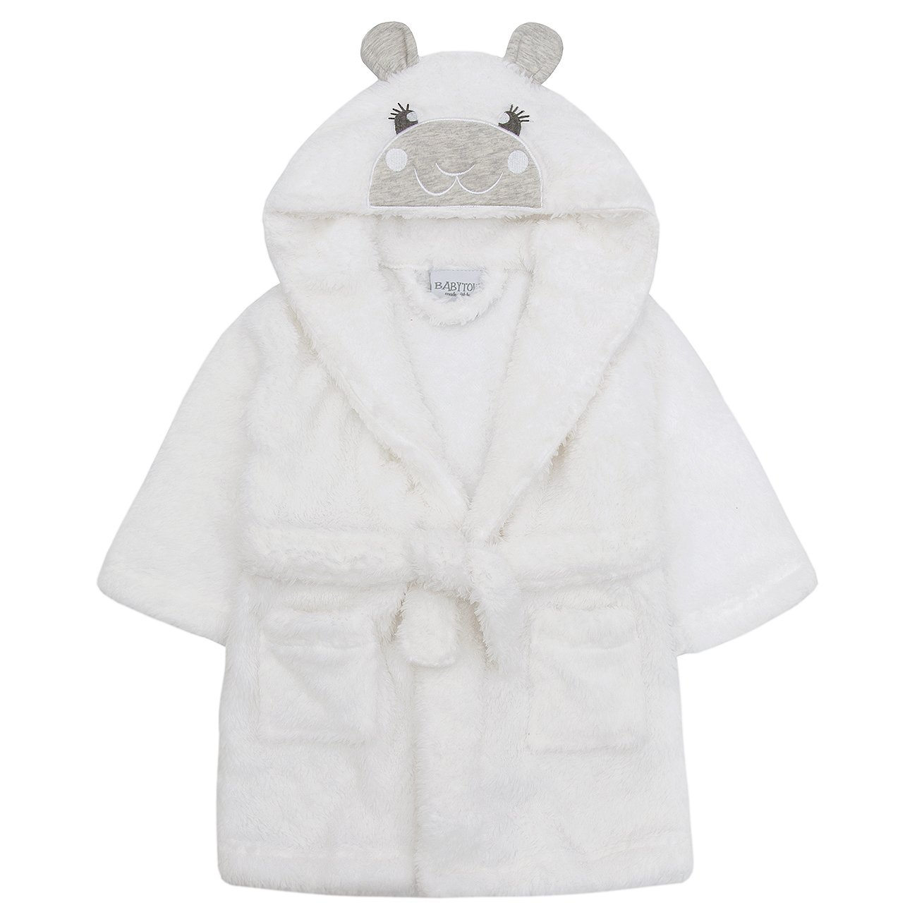 BABY TOWN Babytown Baby Boys and Girls Unisex Snuggle Fleece Hooded Lamb Dressing Robe