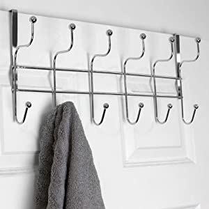 Home Basics Shelby 6 Hook Over The Door Rack for Bathroom, Bedroom or Closet Hanging Coat, Robes, Hats, Bags & Towel, Sturdy Heavy-Duty Clothes Organizer Storage, Chrome
