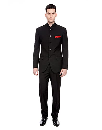 Mansi Textiles Mens Black Nehru Grandad Collar Suit Ideal for Weddings 46 Jacket// 40 Trouser, Black