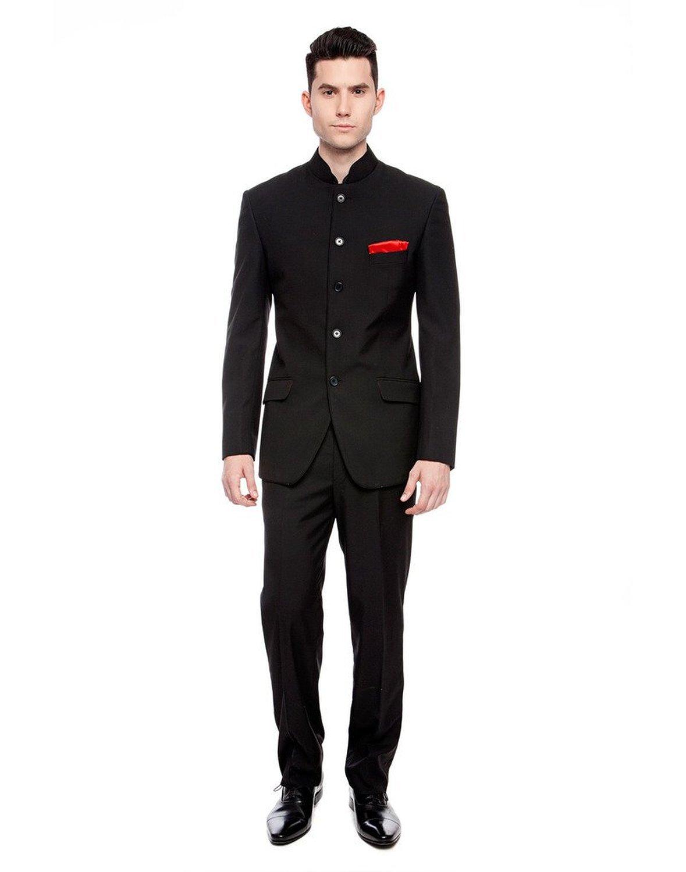 Royal Mens Black Nehru Grandad Collar Suit Ideal for Wedding (36'' Jacket 30'' Trouser, Black)