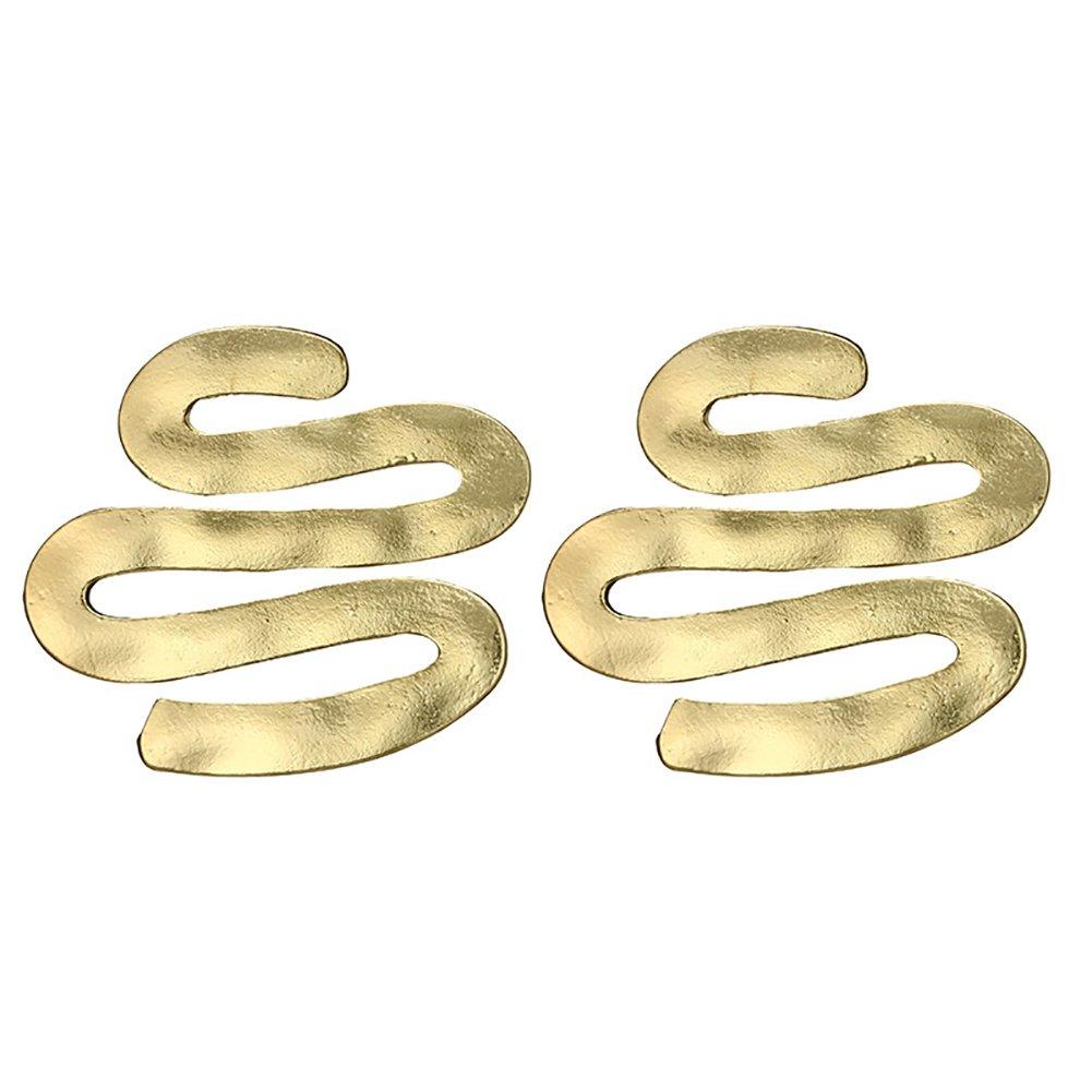WintefeiPunk Large Wave Drop Stud Earrings Squiggle Pendant Women's Ear Jewelry Gift - Golden