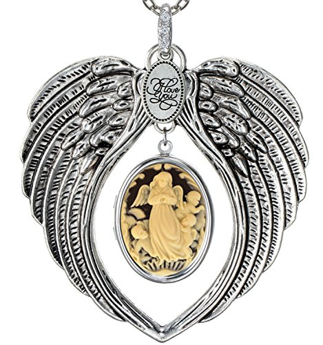 [Angel Wings Locket I Love You Charm Necklace Photo Pendant Fashion Jewelry 2 Chain Pouch for Gift (Angels)] (Angel Locket)