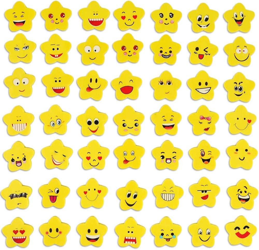 100 Piezas Emoji Borrador, Gomas de Borrar Emoji, para Útiles Escolares, Regalo de Fiesta para Niños, Relleno de Bolsa de Fiesta, Premio Escolar (Patrón Aleatorio)