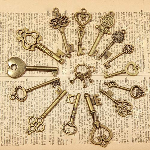 Baost 15 Pcs Antique Vintage Old Look Bronze Keys Heart Bow Shape Charm Pendant Jewelry Beads Charms Pendants for DIY Crafting Necklace Bracelet Jewelry Making Findings -