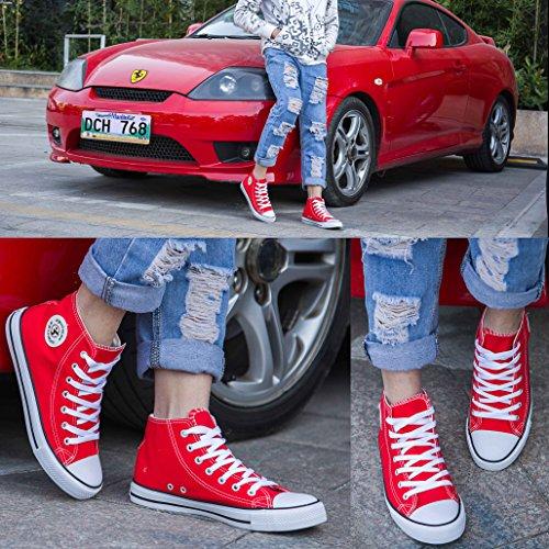 Shinmax Scarpe Basse In Tela Hitops Unisex In Tela Sneaker- Scarpe Stringate Stagione Scarpe Casual Da Uomo E Donna Red-hitiops