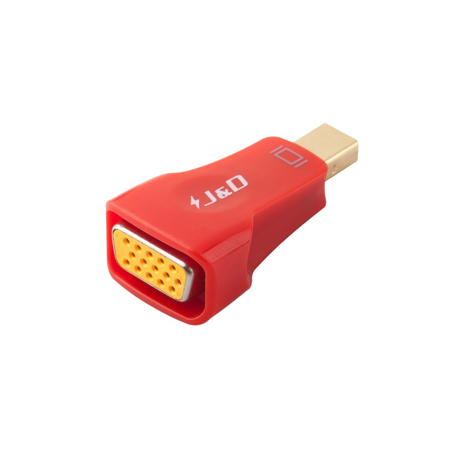 Mini DP to VGA, J&D Gold Plated Mini DisplayPort (Thunderbolt) to VGA Adapter Converter - Male to Female - Red J&D Tech