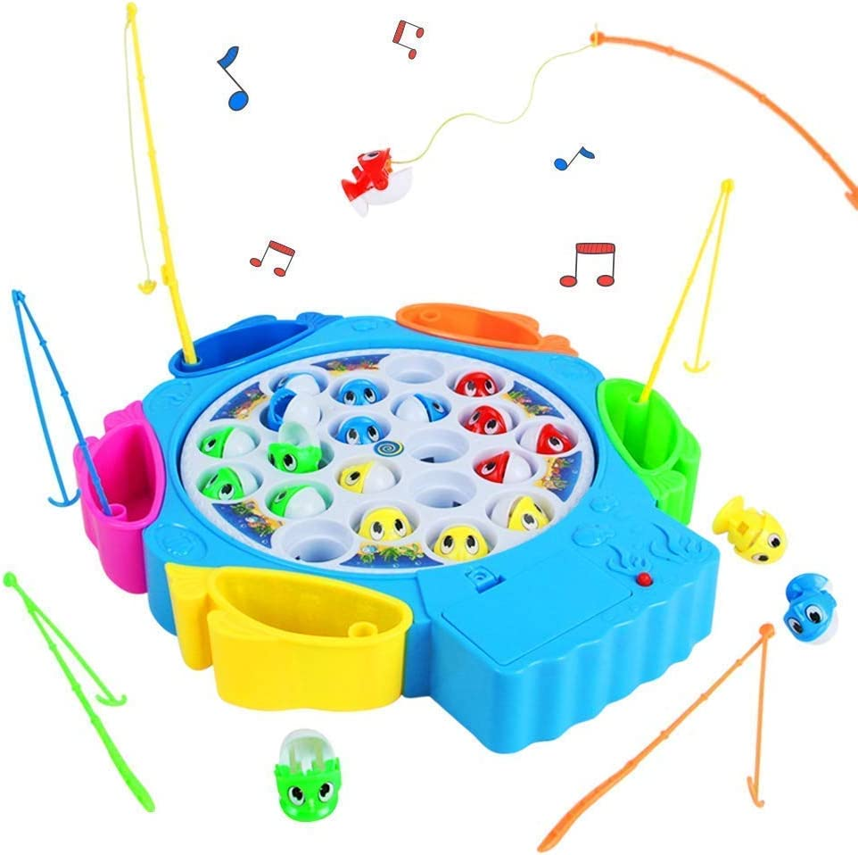 TuKIIE Fishing Game Toy Pole and Rod Fish Board Rotating with Music Fine Motor Skill Training Gift for Children Kids Color Random Delievery