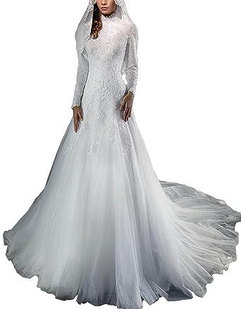 Dreammade Women\'s Muslim Style Mermaid Lace Long Sleeve Wedding ...