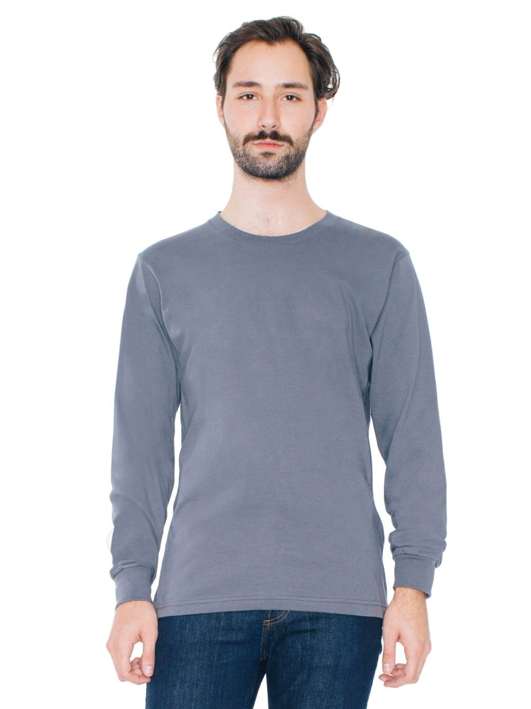 American Apparel Men Fine Jersey Crewneck Long Sleeve T-Shirt Size M Asphalt