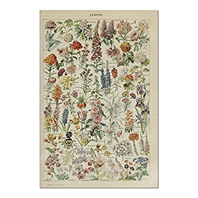 Assorted Flowers - E - Vintage Bookplate - Adolphe Millot Artwork (Premium 1000 Piece Jigsaw Puzzle for Adults, 20x30, Made in USA!): Toys & Games