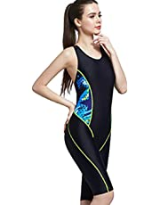 AOIF LLMY Waterproof Boyleg Medium Length Surfing Diving One Pieces Competitive Swimsuit 2090