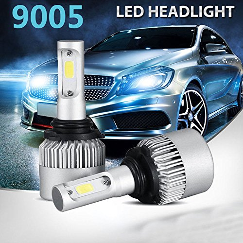 Kirlor Led Headlight Bulb, Led Car Lights with COB Chips 8000 Lumens 6000K Cool White Adjustable-Beam Bulbs IP68 Waterproof All-in-One Conversion Kit (9005)
