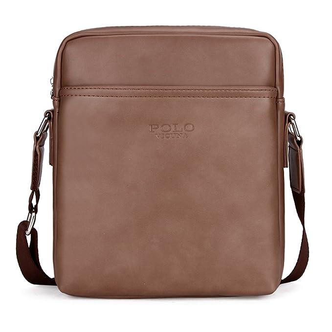 1a41ba2022b VICUNA POLO Business Man Bag Casual Leather Shoulder Bag For Men Messenger  Bag (brown)