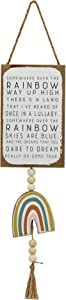 Parisloft Somewhere Over The Rainbow Way Up High Wood Wall Hanging Decor,Cute and Rustic Country Style Inspirational Home Sign