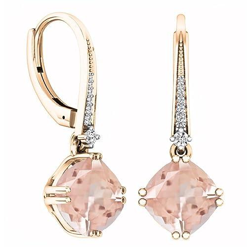 d791d83db Amazon.com: 14K Rose Gold Cushion Cut Morganite & Round Cut White Diamond  Ladies Dangling Drop Earrings: Jewelry