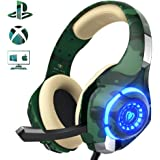 Gaming Headset for PS4 Xbox one PC, Beexcellent Stereo Sound Over Ear Headphones with Noise Isolation Mic Volume Control and LED Light for Laptop Mac iPad Smartphone