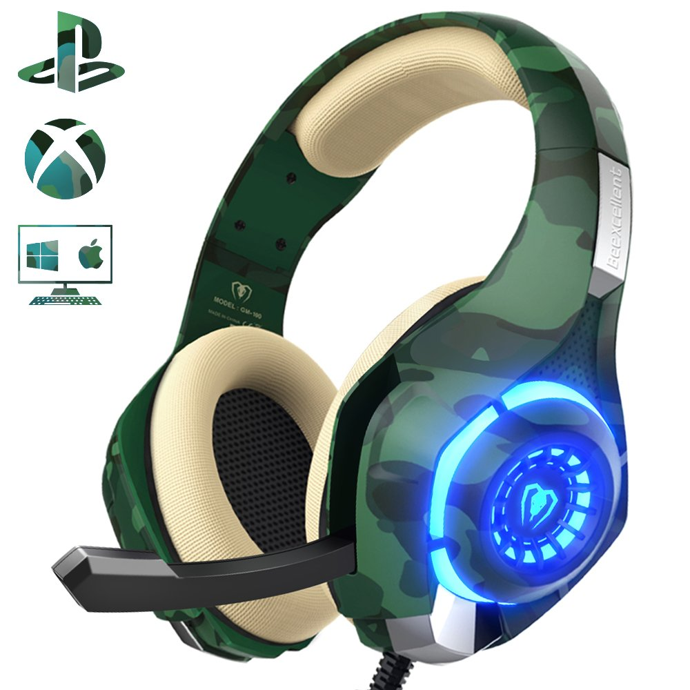 Gaming Headset for PS4 Xbox One Nintendo Switch (Audio) Gaming Headphone with Crystal Stereo Bass Surround Sound, LED…