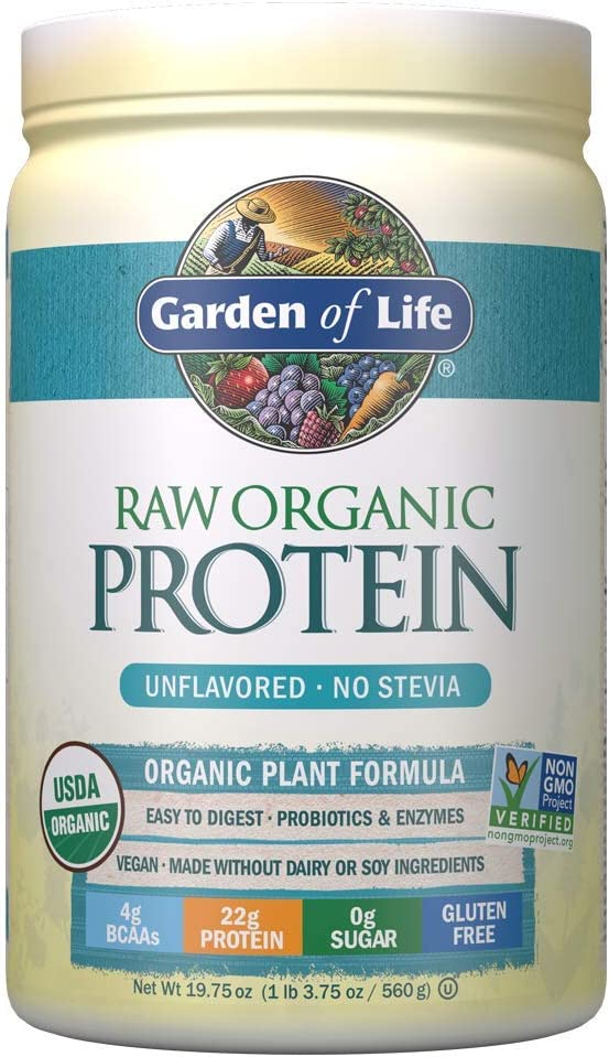 Garden of Life Raw Organic Protein Unflavored Powder, 20 Servings *Packaging May Vary* Certified Vegan Gluten Free Organic & Non-GMO, Plant Based Sugar