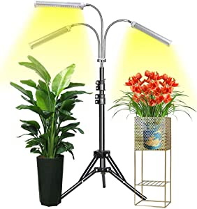 Grow Light with Stand, LED Grow Lamp for Indoor Plants, Tri-Head Sunlike Full Spectrum 150W 315 LEDs Plant Light, Tripod Stand Adjustable 15-47 inch 3 Modes Timer for Indoor Plants Growth