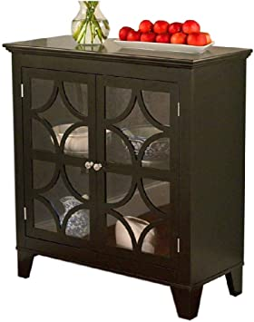 Black Buffet Console Table Server Wood Glass Doors Curio Display Dining Storage