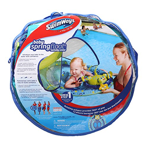 61jarLqQnWL - SwimWays Baby Spring Float Activity Center with Canopy -  Blue/Green Octopus
