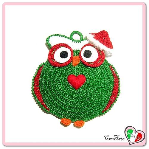 Grün Häkeln Eule Topflappen Für Weihnachten Aus Baumwolle Größe