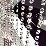 hanging crystal decorations - Fushing 10Pcs 1ft Crystal Octagon Beads Strands Hanging Ornament for Tree Garlands Wedding Christmas Decoration (14mm, Clear)
