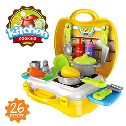Amazon Com Toy Kitchen Set Fun 26 Pcs Colorful Mini Cooking Play