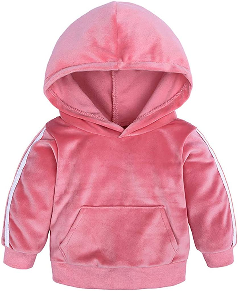 Shan-S Toddler Kids Girls Boys Childrens Long Sleeved Autumn Sports Casual Solid Color Fleece Warm Hooded Sweatshirt Long Pants Outfits Set
