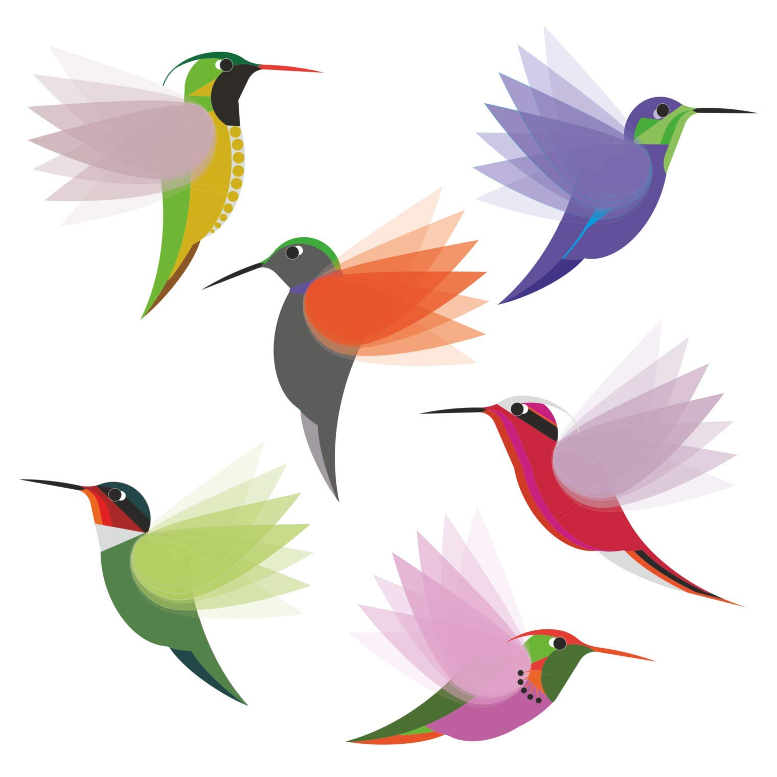 Hummingbirds Window Clings/Decals - Set of 6 Small Illustrated Decorative Glass Static Clings - Helping Prevent Bird Strikes on Windows by Window Flakes