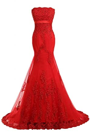 Sunvary Red Strapless Long Lace Wedding Evening Dress Prom Gowns Size 2- Red