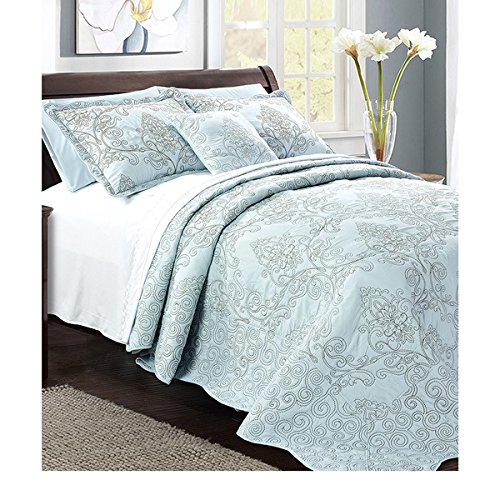UPC 604190858764, 4 Piece 120 X 120 Light Blue Oversized Damask Bedspread King To The Floor, Hangs Over Edge Floral Bedding Drops Side Bed Frame Drapes Large Extra Wide Long French Country Pattern, Polyester