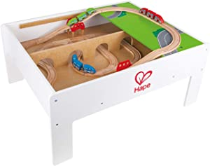 Hape Railway Play and Stow Storage and Activity Table for Wooden Trainsets