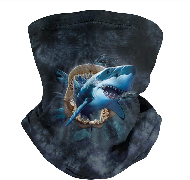 Shark Tie Dyeing Spartan Black Classic Seamless Face Mask Bandana Scarf Neck Gaiter Balaclava for Dust Outdoor Sports