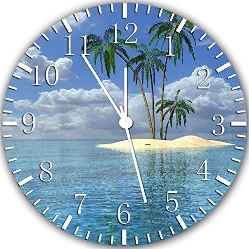 Borderless Palm Tree Beach Island Frameless Wall Clock X27 Nice for Decor Or Gifts ()