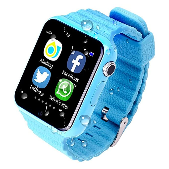 ... GPS Tracker Smartwatch V7K With Camera Facebook Kids SOS Emergency Security Anti Lost For IOS Android iPhone Samsung (BLUE): Cell Phones & Accessories