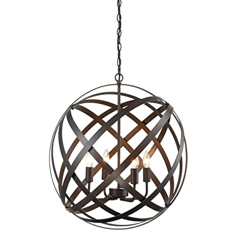 AXILAND Industrial Russet Axis 4-Light Metal Globe Candelabra ...