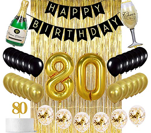 Sllyfo 80th Birthday Decorations Party Supplies Gold Kit - 80th Birthday Gifts for men or women,80th Cake Topper|Banner|sash|Rose gold Curtain Backdrop Props|Confetti Balloons|Champagne balloon. (80)