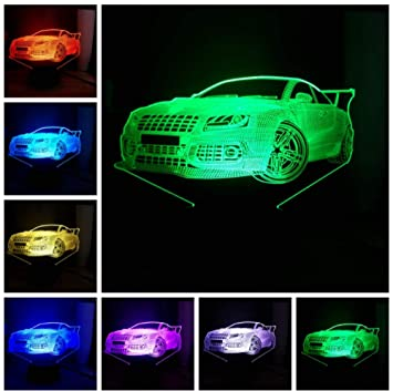 Yangww luz nocturna 7 colores cambiantes LED Cool Car ...