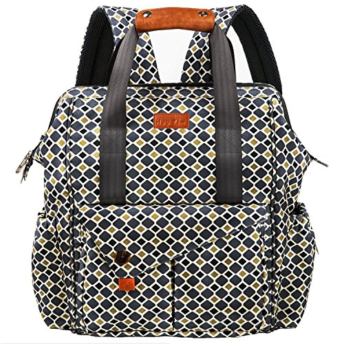 HapTim Multi-function Baby Diaper Bag Backpack W/ Stroller Straps- Insulated Pockets- Changing Pad Included, Nylon Fabric Waterproof for Moms & Dads (Gray+Gold 5279)