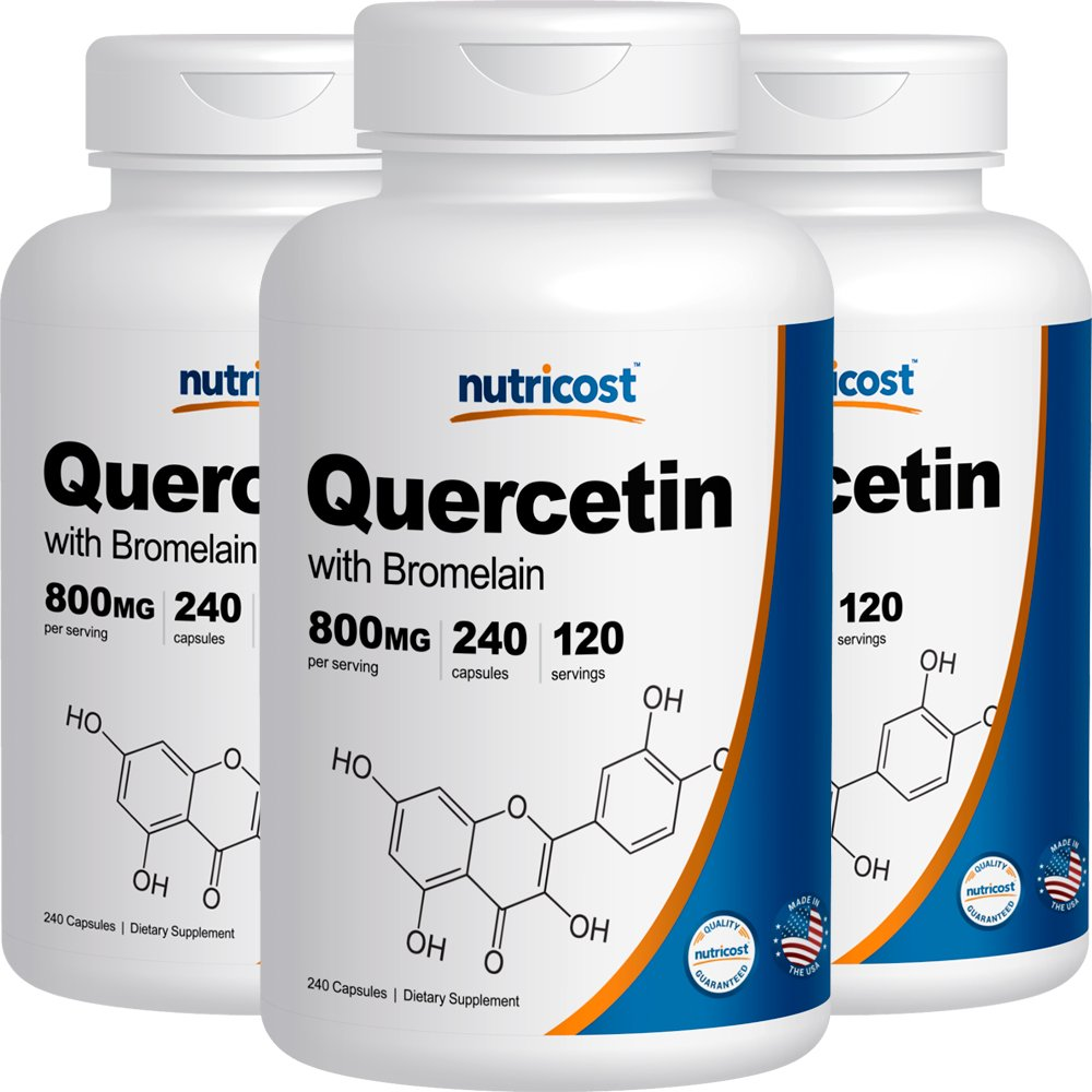 Nutricost Quercetin 800mg, 240 Caps With Bromelain (3 Bottles) by Nutricost