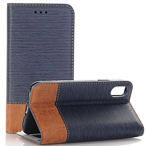 iPhone X Wallet Folio Case, XRPow Stand Feature Double Layer Shock Absorbing Premium Soft PU Leather Wallet Cover Flip Cases for Apple iPhone X 5.8