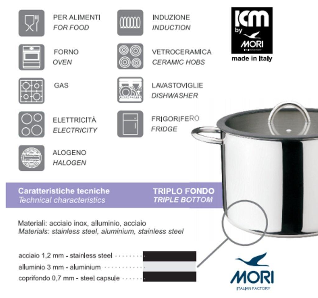 vidrio templado y antideslizante y ojo vapor con mango de acero inoxidable 18//10 Morinox MIC para 2 ollas tapa 20 cm