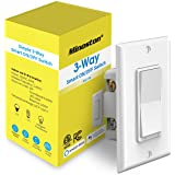 Smart Light Switch, 3-Way Wi-Fi On/Off Switch (2.4Ghz Only), Neutral Wire Required, Compatible with Alexa and Google Assistan
