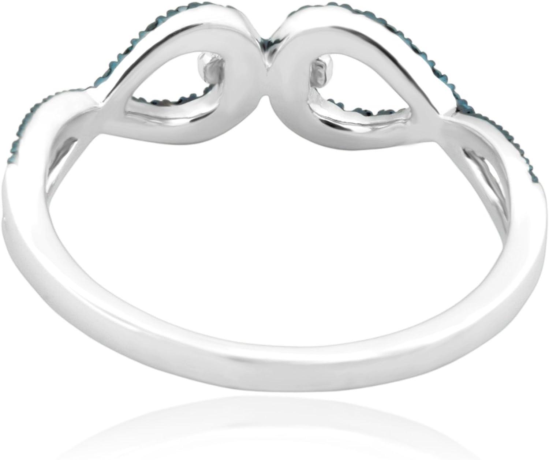 Prism Jewel 0.29 Carat Round Blue /& White Diamond Delicate Twisted Ring
