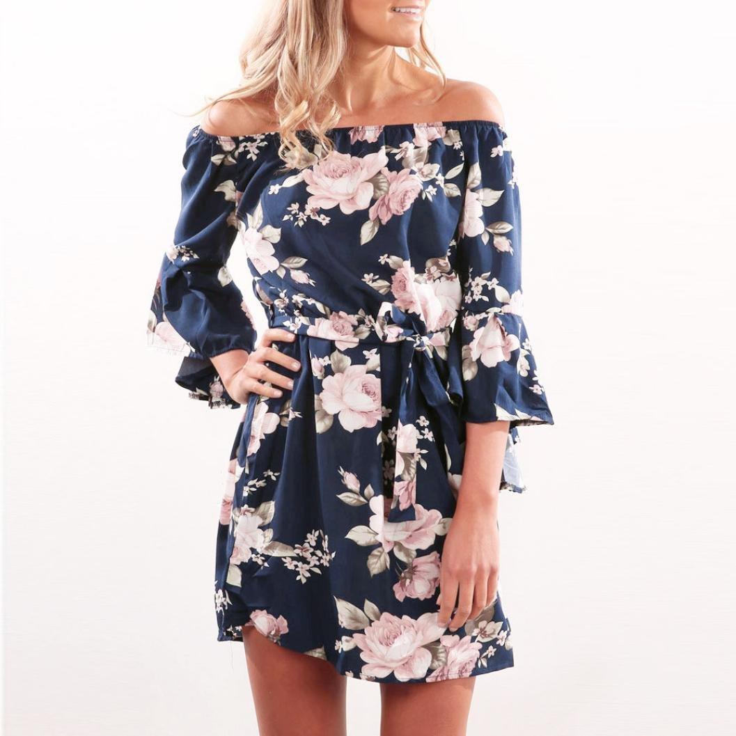 OverDose mujer Summer Off Shoulder Floral Short Mini ...