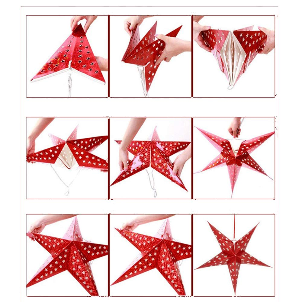 SOKATON Paper Star Lantern 3D Pentagram Lampshade for Christmas Xmas Party Holloween Birthday Home Hanging Decorations Colorful 10 Inch 6PCS (Lights Not Included)